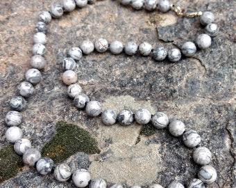 MAP JASPER (Grey Crazy Lace) Chakra Necklace All Natural Semi-Precious Stones Healing Metaphysical