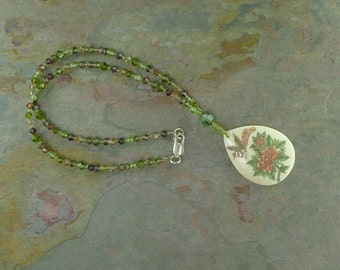 BIRD FLOWER - Hand Painted Bone Pendant w/ Natural Peridot Smokey Quartz & Swarovski Crystal Necklace