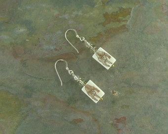 Earrings: YAK Oxen Hand Painted with Citrine Stone Sterling Silver