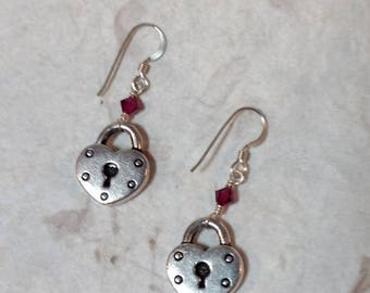 Heart Lock w/ Fuchsia Swarovski Cyrstal Sterling Silver Earrings