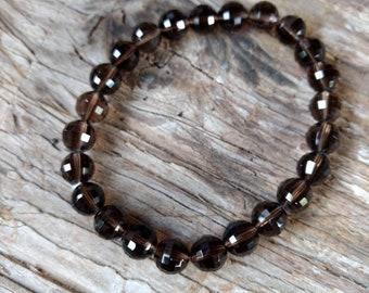 SMOKEY SMOKY QUARTZ (faceted) Chakra Stretch Bracelet All Natural Semi-Precious Stones Healing Metaphysical
