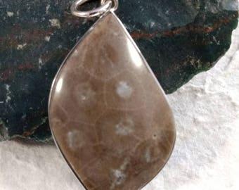 PETOSKEY Stone STATEMENT PENDANT Sterling Silver