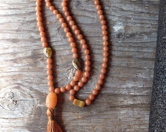 MALA: PEACH AVENTURINE & Tigereye Natural Gemstone Silk Tassel Necklace 108 count