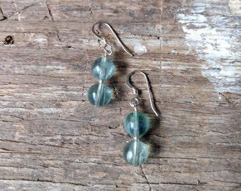 Blue Fluorite Gemstone Earrings Sterling Silver Natural Stone