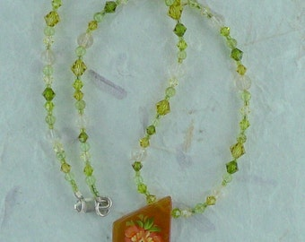 Floral Russian Hand-Painted Carnelian w/ Citrine, Peridot & Swarovski Crystal Sterling Silver Necklace