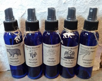 5 Mixed SMUDGE SPRAYS - Energy Clearing Mist - Smoke-Free Alternative Smudging, Includes: Sacred, Spirit, Rose, Lavender & Frank 'n Myrrh