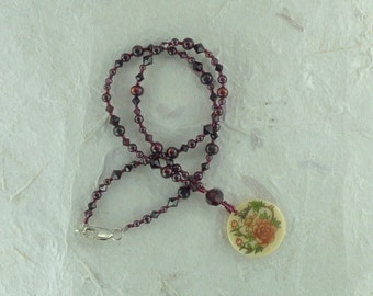 Floral Painted Bone Pendant with Natural Garnet, Fresh Water Pearls & Swarovski Crystals Necklace