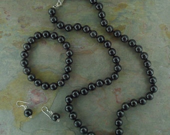 SET: BLACK TOURMALINE Chakra Necklace Bracelet Earrings All Natural Semi-Precious Stones Healing Metaphysical