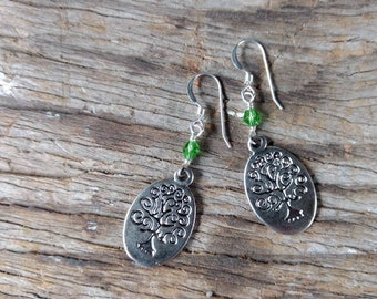 Tree of Life Pewter Charm GREEN Swarovski Cyrstal Sterling Silver Earrings