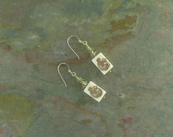 Earrings: MONKEY w/Peach Hand Painted with Citrine & Peridot Stone Sterling Silver