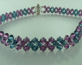 SALE: Blue and Purple Swarovski Crystal Woven Necklace Choker Sterling Silver