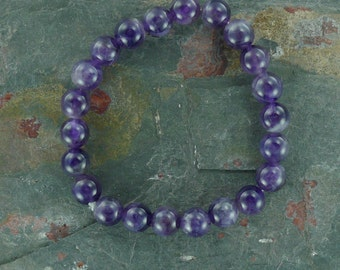 AMETHYST Chakra Stretch Bracelet All Natural Semi-Precious Stones Healing Metaphysical