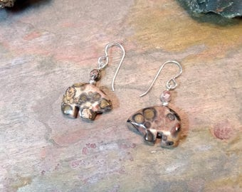 LEOPARDSKIN JASPER Bear Fetish Zuni Gemstone Earrings Sterling Silver