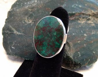 CHRYSOCOLLA Stone STATEMENT Ring Sterling Silver Size 8