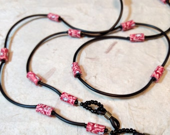SALE: Whimsical RED PINK & White Fimo Polymer Clay, Glass Beads, Rubber Tubing Eyeglass Chain