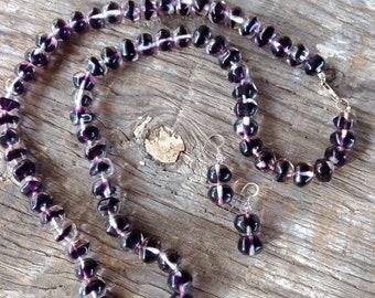 SALE: Vintage German PURPLE & CLEAR Glass Necklace w/ Earrings Set