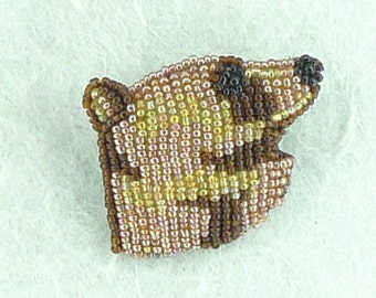 Grizzly Brown Bear Hand-stitched Glass Seedbead Beaded Pin Brooch BEAR