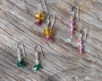 3 Pairs Swarovski Crystal Colorful Wedding Prom Everyday Sterling Silver Earrings