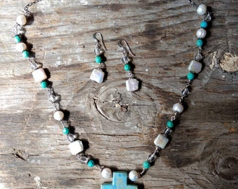 SET: TURQUOISE Pearl & Rock QUARTZ Natural Gemstone Sterling Silver Necklace w/ Earring Set
