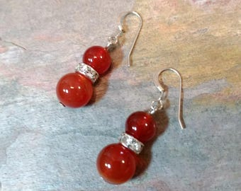 CARNELIAN AGATE w/Rhinestone Sparkle Gemstone Earrings Sterling Silver Natural Stone