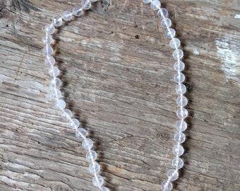 FACETED ROSE QUARTZ Stone Natural Gemstone Sterling Silver Necklace