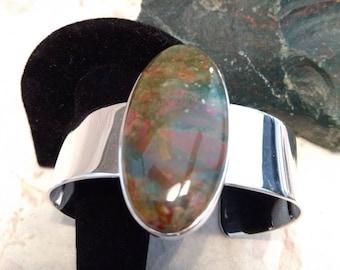 FANCY JASPER Stone STATEMENT Cuff Bracelet Sterling Silver Wide Band Wow!