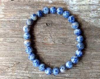 LAPIS LAZULI (Denim) Chakra Stretch Bracelet All Natural Semi-Precious Stones Healing Metaphysical