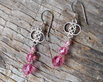 SWAROVSKI: 2 Shades of Pinks Crystal Colorful Wedding Prom Earrings Sterling Silver