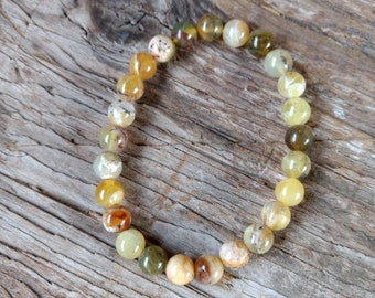 YELLOW PERUVIAN OPAL Chakra Stretch Bracelet All Natural Semi-Precious Stones Healing Metaphysical