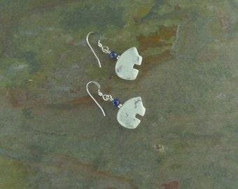 Bear Fetish Zuni Gemstone Earrings Sterling Silver White Howlite & Lapis Lazuli