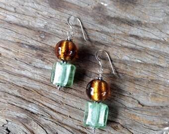 SALE: Venetian Glass BROWN & GREEN Silver Foil Lampwork w/ Sterling Silver Earrings