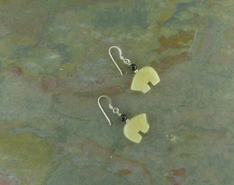 Bear Fetish Zuni Gemstone Earrings Sterling Silver Yellow Calcite & Black Onyx