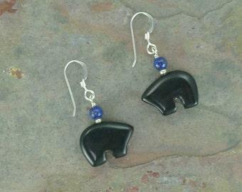 Bear Fetish Zuni Gemstone Earrings Sterling Silver Black Onyx & Lapis Lazuli
