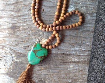 MALA: SANDALWOOD & TURQUOISE Natural + Fragrant Beads Silk Tassel Necklace 108 Count