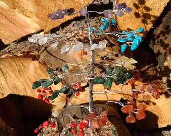 CHAKRA Mixed Gemstone Tree Handmade Natural Semi-Precious Stones Healing Metaphysical