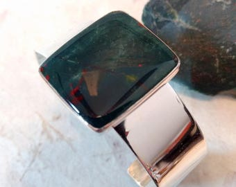 BLOODSTONE Stone STATEMENT Cuff BRACELET Sterling Silver Wide Band Wow!