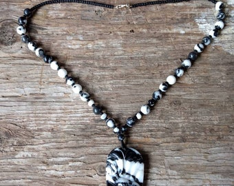 Carved Bear Pendant Zebra Jasper Chakra Necklace All Natural Semi-Precious Stones Healing Metaphysical