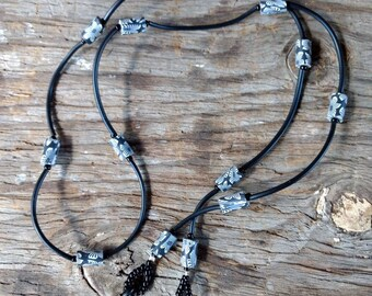 SALE: Whimsical Black & White FLORAL Fimo Polymer Clay, Glass Beads, Rubber Tubing Eyeglass Chain