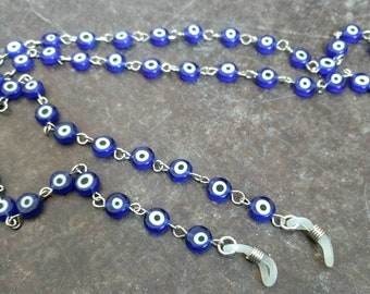 Blue EVIL EYE, Protection, Czech Glass Beads, Linked Silver Wire Eyeglass Chain