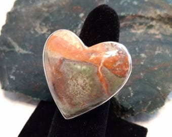 RHYOLITE Heart Stone STATEMENT Ring Sterling Silver STUNNING Size 8