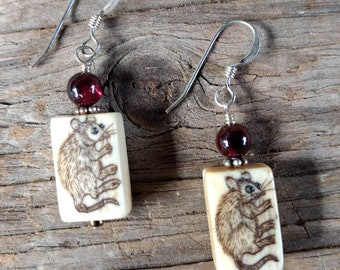 Earrings: RAT MOUSE Hand Painted with Garnet Stone Sterling Silver