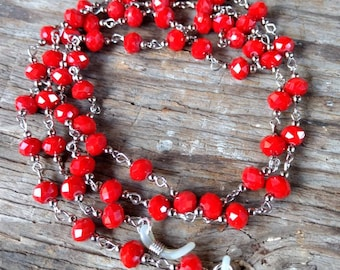 BRIGHT RED, Czech Glass Beads, Linked Silver Wire Eyeglass Chain