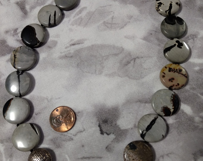 """Crazy Horse Creek Jasper Beautiful Stone Natural Gemstone Sterling Silver Necklace 18"""" Long, Large Coin Shaped Beads"""