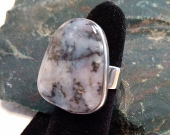 OHIO FLINT Stone STATEMENT Ring Sterling Silver Size 8