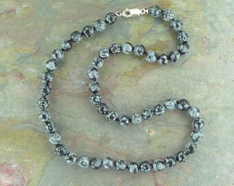 SNOWFLAKE OBSIDIAN Chakra Necklace Choose Length All Natural Semi-Precious Stones Healing Metaphysical