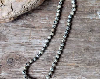 Dalmatian Stone Jasper Natural Gemstone Sterling Silver Necklace