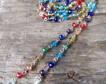 RAINBOW SPARKLE Czech Glass Beads, Linked Silver Wire EYEGLASS Chain
