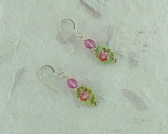 Floral Painted Mother of Pearl & Swarovski Crystal Sterling Silver Earrings