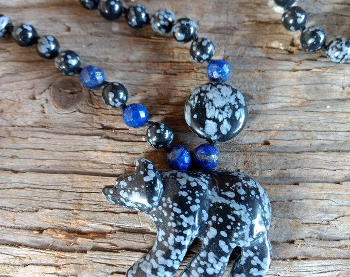 Carved Bear Snowflake Obsidian Lapis Lazuli Natural Gemstone Sterling Silver Necklace