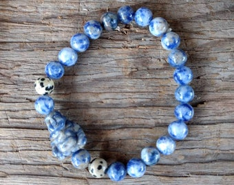 Denim Lapis & Dalmatian Jasper w/ Lapis Buddha Chakra Stretch Bracelet All Natural Semi-Precious Stones Healing Metaphysical